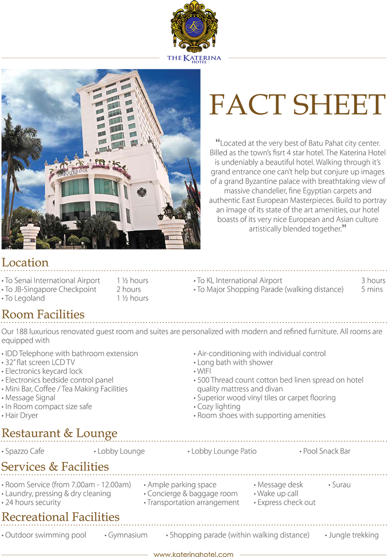 Find A Code >> Hotel Fact Sheet – The Katerina Hotel